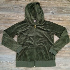 Juicy Couture Military Green Velvet Logo Jacket